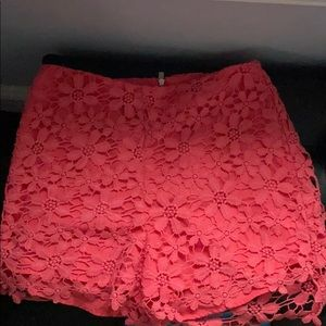 coral floral shorts